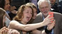 Jeremy Corbyn poses for selfie with supporter