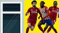Salah, Partey and Mane next to an illustration of a window