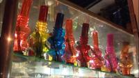 A row of bongs in a head shop