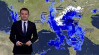 Heavy rain shown over Europe