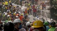 Rescuers in Mexico City