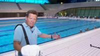 The BBC's Milke Bushell at the London Aquatics Centre