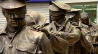Blind veteran statue at Manchester Piccadilly Station.