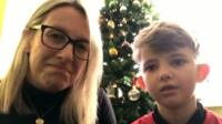Seven-year-old Teddy Stewart tells Victoria Derbyshire of his sadness at having to cancel a trip to Lapland to Father Christmas.