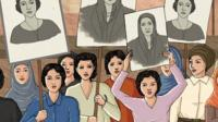 An illustration of women protesting and holding up pictures of Huda