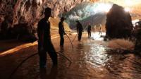 Rescuers in cave