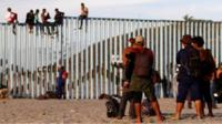 Migrants on the Mexico/US border