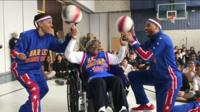 Virginia with The Globetrotters
