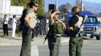 Heavily armed police at the Inland Regional Center in San Bernardino
