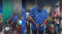 Composite photo shows Accra's mayor braiding a women's hair and baking while campaigning