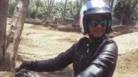 Geeta Tandon on a motorbike