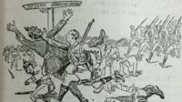 Newspaper cartoon showing Edgar Mobbs