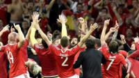 Wales celebrate beating Belgium
