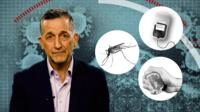 Reality Check presenter Chris Morris next to symbols of coronavirus myths being shared online