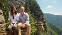 The Duke and Duchess of Cambridge during their hike to the Tiger's Nest Monastery, Bhutan