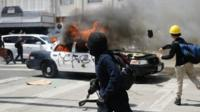 Police car on fire in Los Angeles