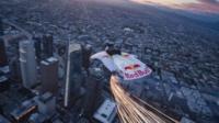 Wing suit over LA