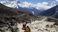 Trekkers in Nepal near Mt Everest