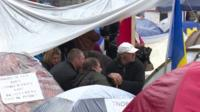 Demonstrators camping outside the prime minister's office in Moldova