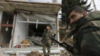A damaged shop in the town of Rabiya, Syria