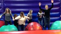 Group of women at an adult-only bouncy castle night
