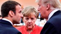 Emmanuel Macron, Angela Merkel and Donald Trump