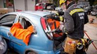 Bridgend firefighters show off their car rescue skills