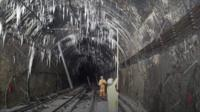 Icicles in a rail tunnel