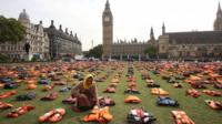 Migrants' lifejackets on display in Parliament Square