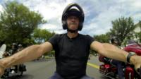 The BBC's Jon Sopel rides in the Rolling Thunder mtrorbike rally