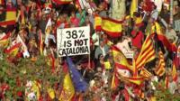 Poster saying '38% is not Catalonia' in Barcelona protest - 29 October 2017
