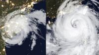 Satellite images of Tropical Storm Florence and Typhoon Mangkhut