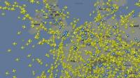 Europe map showing planes in the air