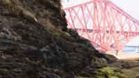 Exposed Lothian oil shale near the Forth Bridge is similar to what was mined in the 1950s and 60s