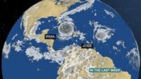 Weather graphics of Hurricane Irma and Hurricane Jose behind in the atlantic