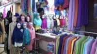 Shop selling colourful scarves