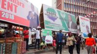Billboards showing Sierra Leone presidential candidates