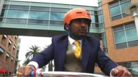 BBC Media editor Amol Rajan tours the Google campus on a bicycle.