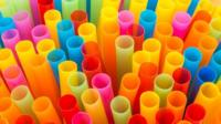 Colourful plastic straws