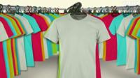 Cotton T-shirts on a rack