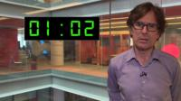 Robert Peston with clock