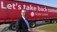 Michael Gove with campaign truck