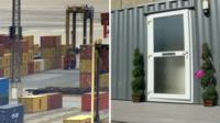 Shipping containers at Newport dock and one which has been turned into a flat