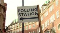 Polling station sign