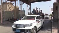 Yemen's houthi rebels in trucks