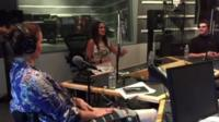 Shannon Murray, Auti Angel and RJ Mitte in the studio