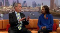 Nigel Farage and Gina Miller