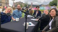 Presenters Kate Monaghan and Simon Minty with Jon Long, Aidan Green and Spring Day at the Edinburgh Festival Fringe.