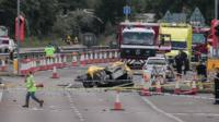 Emergency vehicles at site of Shoreham jet crash