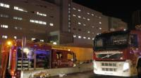 Fire engines at La Candelaria Hospital in Tenerife
